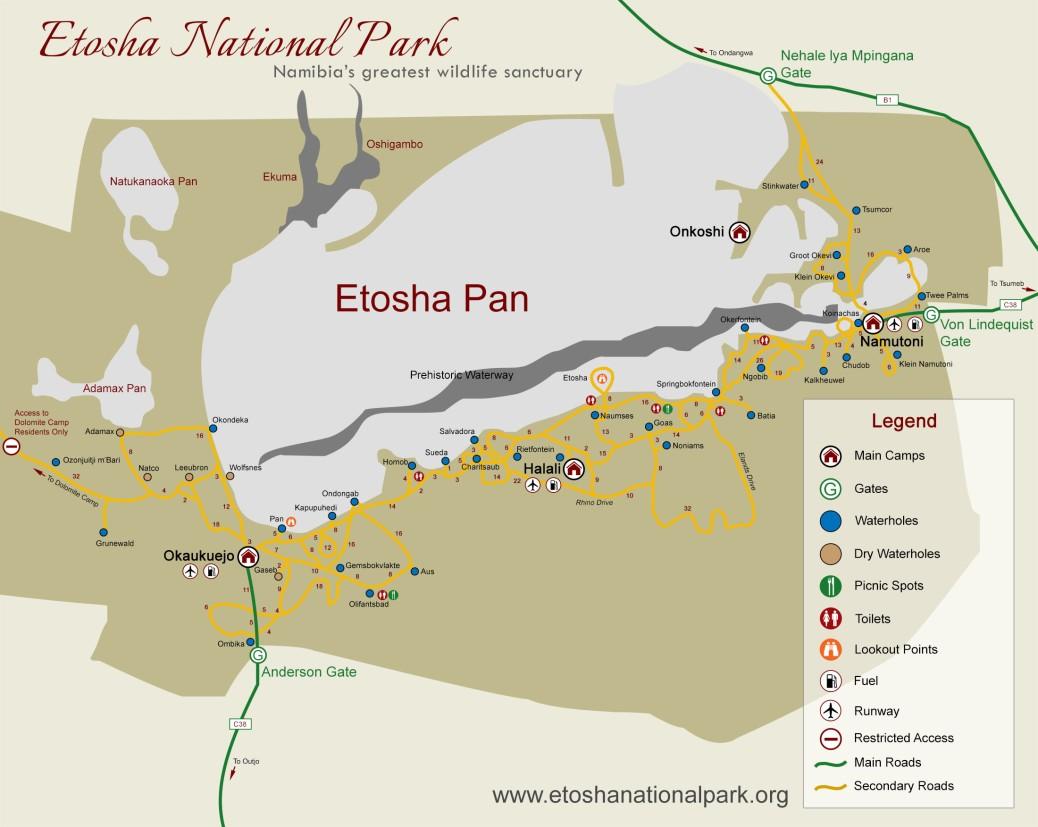 Mappa Etosha National Park